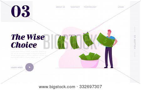 Political Or Finance Corruption Website Landing Page. Person Laundering Cash Money. Economical Crime