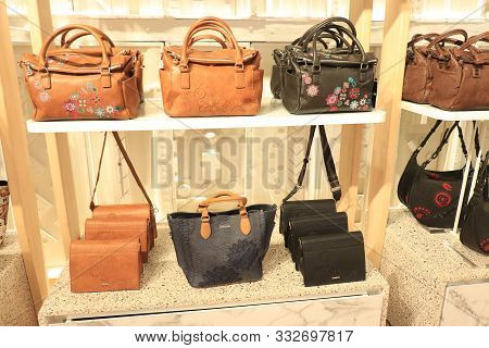Barcelona, Spain - September 29th 2019: Hand Bags In A Desigual Clothing Store In Maremagnum Shoppin