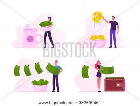 Money Laundering Set. Unfair Business People Washing Banknotes In Machine, Cleaning Coins In Basin,