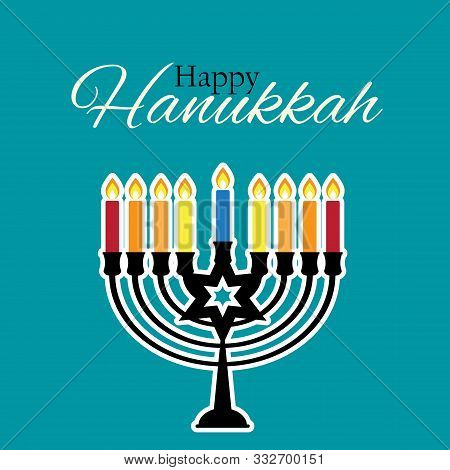 Happy Hanukkah, Jewish Holiday Background. Vector Illustration. Hanukkah Is The Name Of The Jewish H