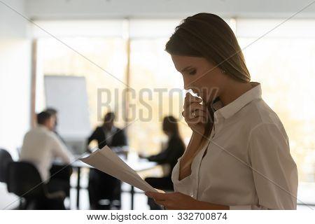 Anxious Female Read Paperwork Feel Worried Before Public Speaking