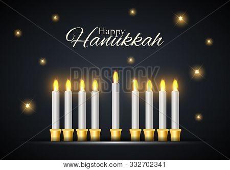 Happy Hanukkah, Jewish Holiday Background. Vector Illustration. Hanukkah Is The Name Of The Jewish H