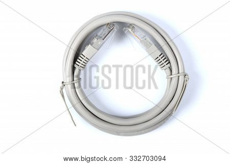 Path Cord, Ethernet cable, Network Cable CAT6 Flat 2m RJ45 Lan Internet isolated on white Background.  High resolution photo. Full depth of field. poster
