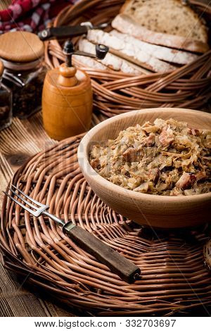 Bigos - Stewed Cabbage With Meat,dried Mushrooms And Smoked Sausage. Traditional Dish Of Polish Cuis
