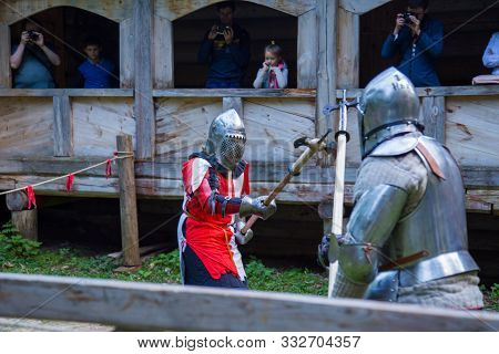 Nizhniy Novgorod, Russia - June 2018: Volga Shtandart Historic Festival. Two Militant Medieval Knigh