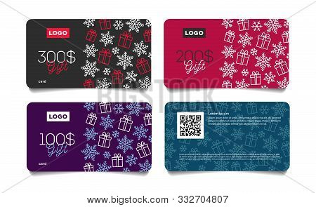 Set Of Christmas Or Winter Dicount Gift Vouchers, Cards With Snowflakes And Gift Boxes Pattern And M