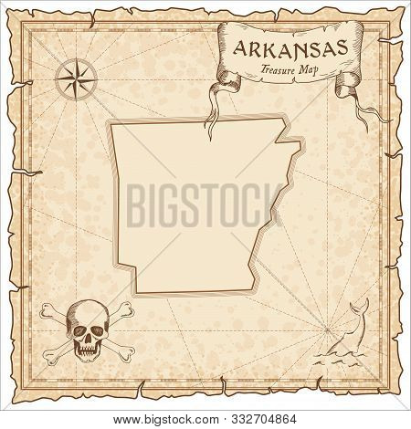 Arkansas Pirate Map. Ancient Style Map Template. Old Us State Borders. Vector Illustration.