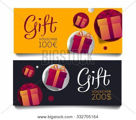 Gift Voucher Template With Monetary Value And Present Boxes, Discount Advertising In Two Colours, Ye