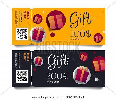 Gift Voucher Template Of Torn-off Tickets Oe Invitation With Monetary Value And Present Boxes, Disco