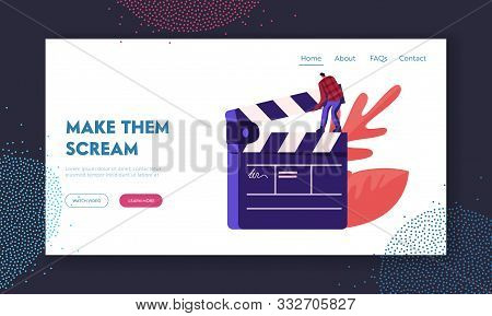 Cinematograph, Movie Making Process Website Landing Page. Man Studio Worker Assistant Stand On Huge