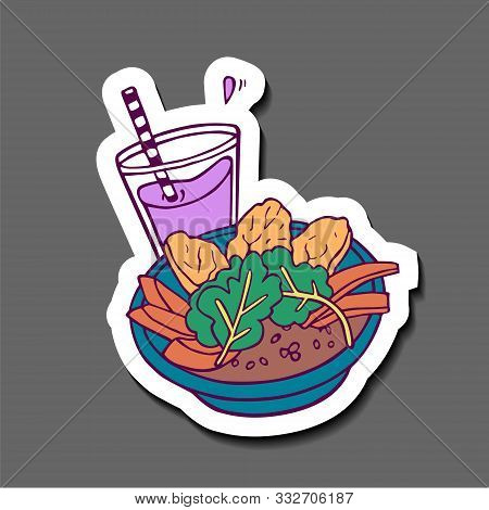 Healthy Meal With Sweet Potato, Arugula And Beetroot Smoothie Sticker. Hand-drawn In Cartoon Style,