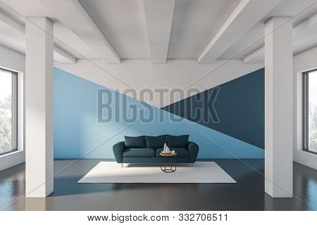 Blue And White Living Room With Sofa