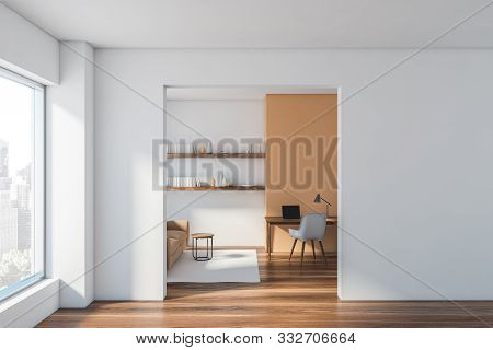 White Living Room And Home Office