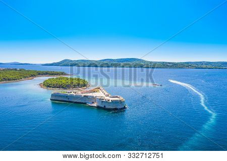 Saint Nicholas Fortress At Sibenik Bay Entrance, Dalmatia, Croatia, Drone Aerial Shot Of Beautiful B