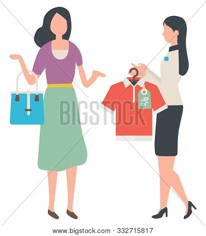 Customer And Shop Assistant, Sale And Shopping, T-shirt On Rack. Woman With Bag And Clothes With Dis