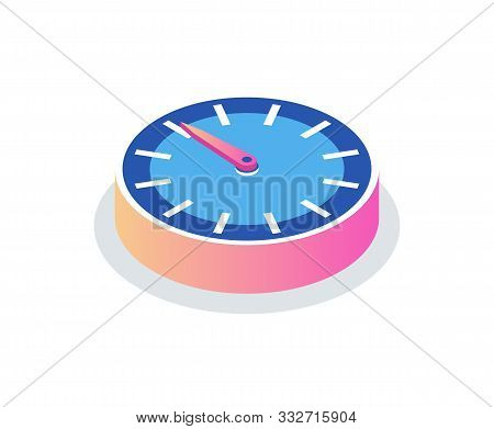 Round Clock Isolated Time Measurement Icon. Vector Circle With Hour And Minute Pointers, 3d Isometri