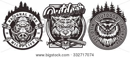 Vintage Wildlife Monochrome Logos With Angry Wild Boar Wolf Owl Heads And Inscriptions Isolated Vect