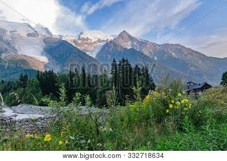 Hike From Chamonix Up To La Jonction Glacier Des Bossons. Mont Blanc Massif, French Alps, Chamonix,