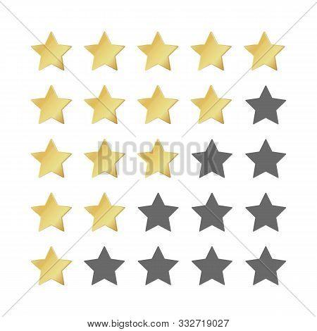 Five Gold Stars Rating. 5 Star Image Realistic Leadership Symbol. Glossy Yellow Winner Champion Rati