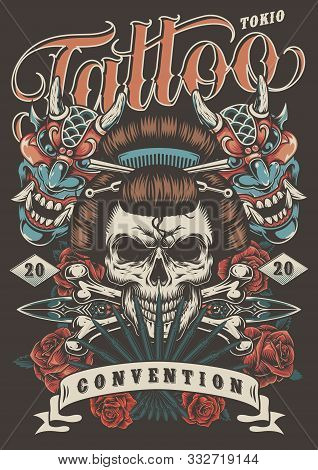 Tattoo Convention In Tokio Colorful Poster With Geisha Skull Daggers Crossbones Roses And Demon Mask