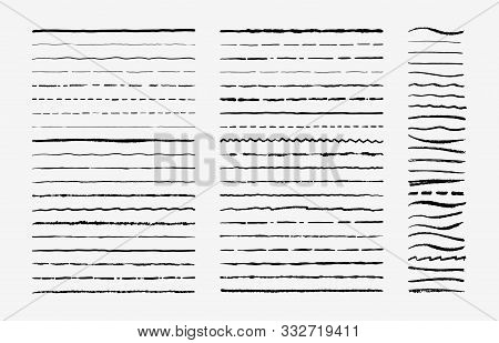 Hand Drawn Doodle Brush Lines. Vintage Hand Drawn Underline Border Elements, Pencil Sketch Stroke De
