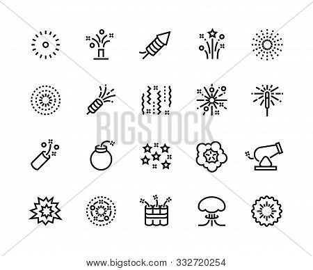 Firework Line Icons. Birthday Party And Anniversary Celebration Light Sparklers, New Year Pyrotechni