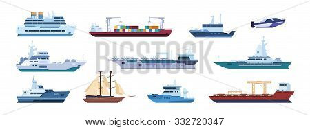 Flat Boats. Ocean Sailboats Ships Yacht And Catamarans, Isolated Marine Transport. Vector Sailing Ve