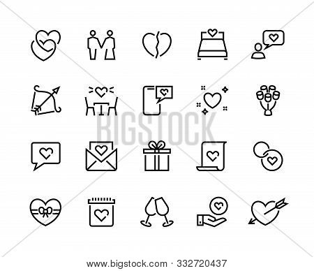 Love Line Icons. Volunteer Charity Friendship And Solidarity Outline Pictograms, Charity Handshake A