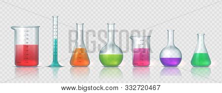 Laboratory Equipment. Realistic 3d Glass Tubes, Flask, Beaker And Other Chemical And Medicine Lab Me