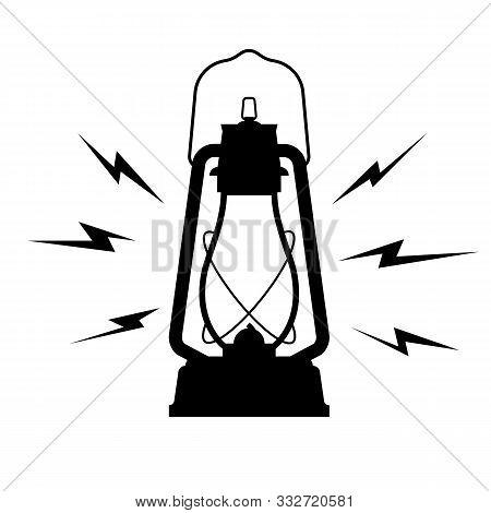 Vintage Kerosene Lantern Icon On A White Isolated Background