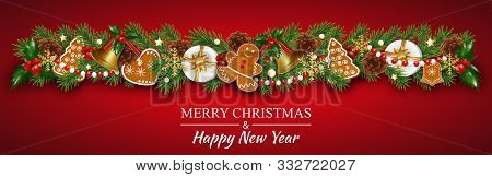 Christmas Border Garland Decorations With Gingerbread Cookies, Fir Branches, Golden Bells, Holly Ber
