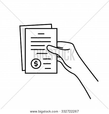 Black Thin Line Hand Holding Invoice. Concept Of Pile Of Check List Like Paperwork And Paycheck Or R