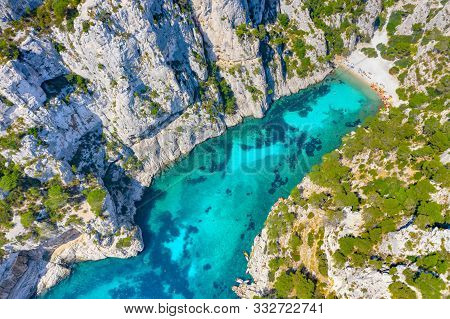 Panoramic View Of Calanques National Park Near Cassis Fishing Village, Provence, South France