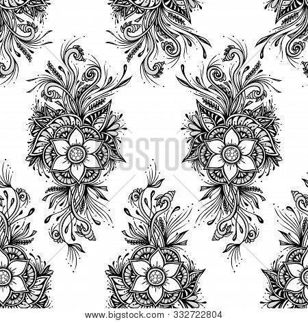 Seamless Pattern Or Texture With Decorative Flowers In Black White For Wallpaper Or Textile Or Decor