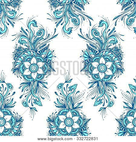 Seamless Pattern Or Texture With Decorative Flowers In Blue White For Wallpaper Or Textile Or Decora