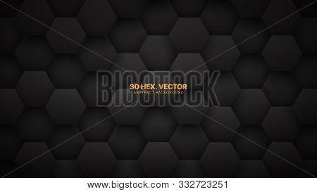 Technological 3d Vector Hexagons Darkness Abstract Background. Science Technology Hexagonal Blocks P