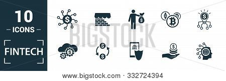 Fintech Icon Set. Include Creative Elements Online Banking, Direct Payment, Fintech, Cryptocurrency,