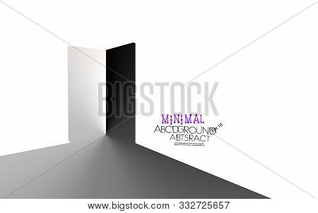 Abstract Open Door Light Background Isometric Contrast Minimal White And Black. Concept Entrance, Op