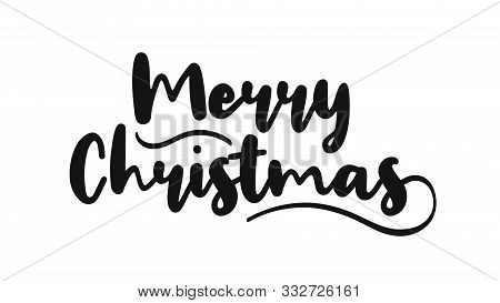 Merry Christmas And Happy New Year Handwritten Text. Merry Christmas Hand Drawn Black Text For Greet