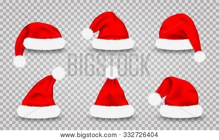 Set Of Santa Claus Hats. Realistic Red Santa Claus's Caps Isolated On Transparent Background. Cute C