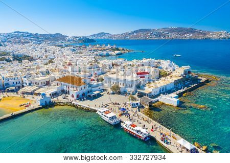 Panoramic View Of Mykonos Town, Cyclades Islands, Greece