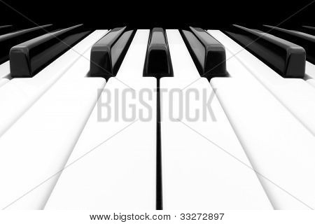 Wide Angle Shot Of Piano Keyboard