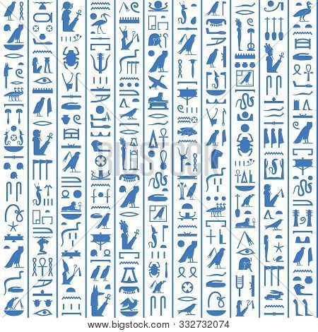Hieroglyphs Of Ancient Egypt Dark Blue Design.