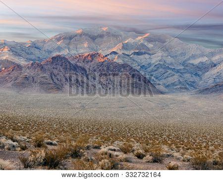Desert Sunset Views Along Us Hwy 95. Nye County, Nevada, Usa.