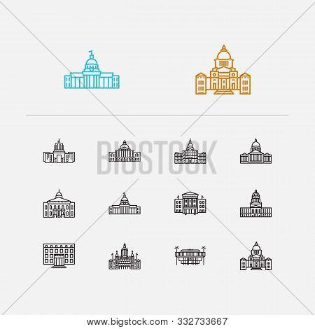 Us Capitols Icons Set. Alabama State Capitol And Us Capitols Icons With North Carolina State Capitol