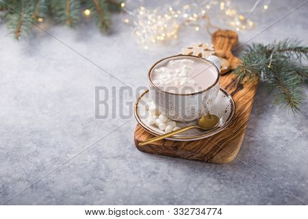 Christmas Holiday Cacao Drink. Hot Chocolate Cacao Drinks With Marshmallows In Christmas Mug On Grey