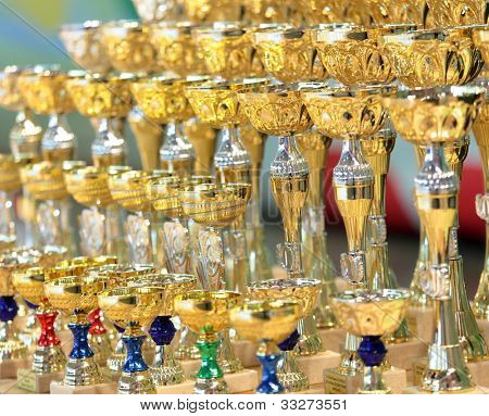 MOSCOW, RUSSIA - MAY 2: Sports cups wait for prize-winners of IX World Dance Olympiad in Moscow, Russia at May 2, 2012.