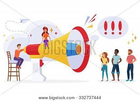 Pr Management And Advertisement Concept. Announcement, Broadcast Concept. Marketing Promotional Camp
