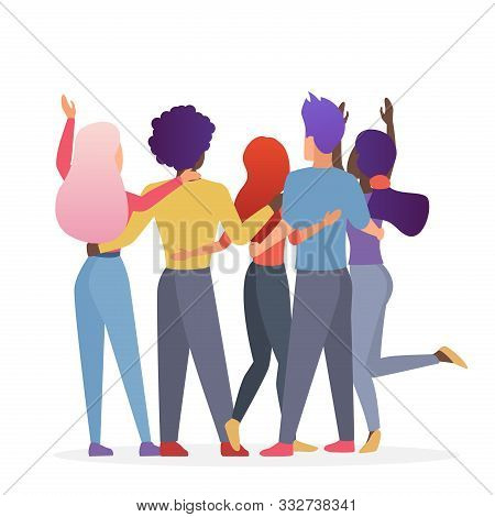 Diverse Friend Group Of People Hugging Together. Back View Of Teenage Boys And Girls Or School Frien