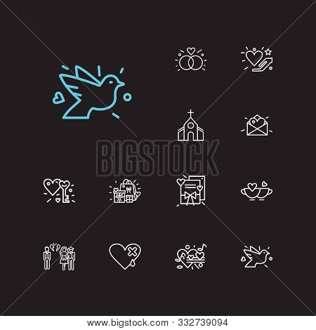 Amour Icons Set. Key To Heart And Amour Icons With Betrayal, Love Letter And Dove. Set Of Musical Fo